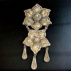 Vintage Huge Pawn Silver Floral Dangle Brooch